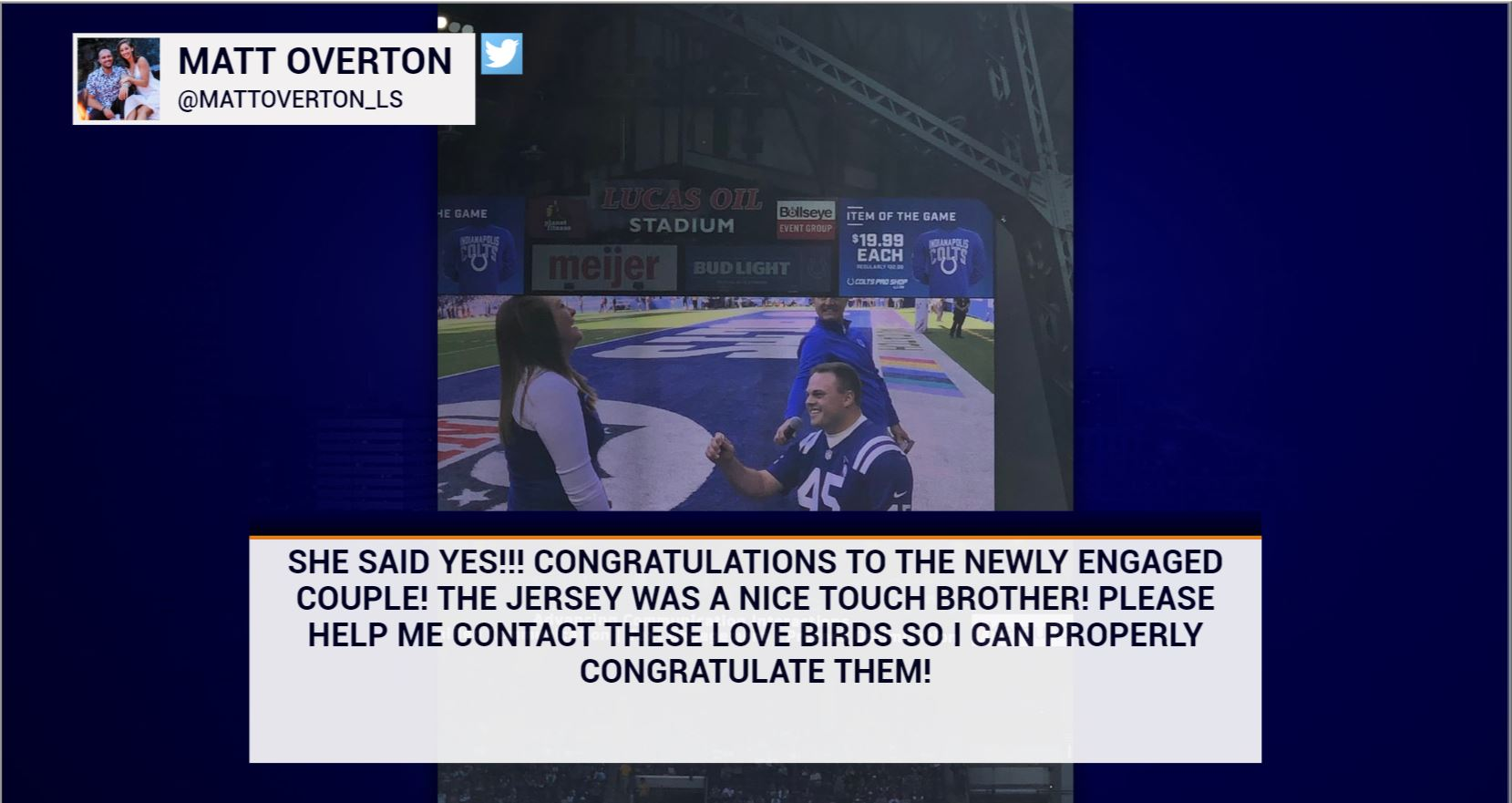 Man proposes at Colts game wearing Matt Overton jersey | WTTV CBS4Indy