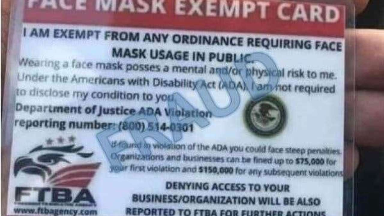 BBB warns of fake face mask exemption cards