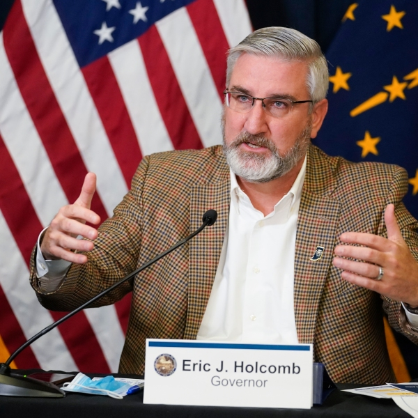 Indiana Gov. Eric Holcomb speaks during a media availability from the Statehouse in Indianapolis