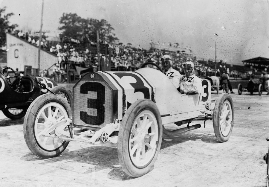 Driver Gil Anderson of Norway at the 3rd Indy 500 race at Indianapolis Motor Speedway in 1913.