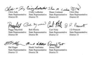 Signitures from Indiana lawmakers against IU's COVID-19 vaccine mandate